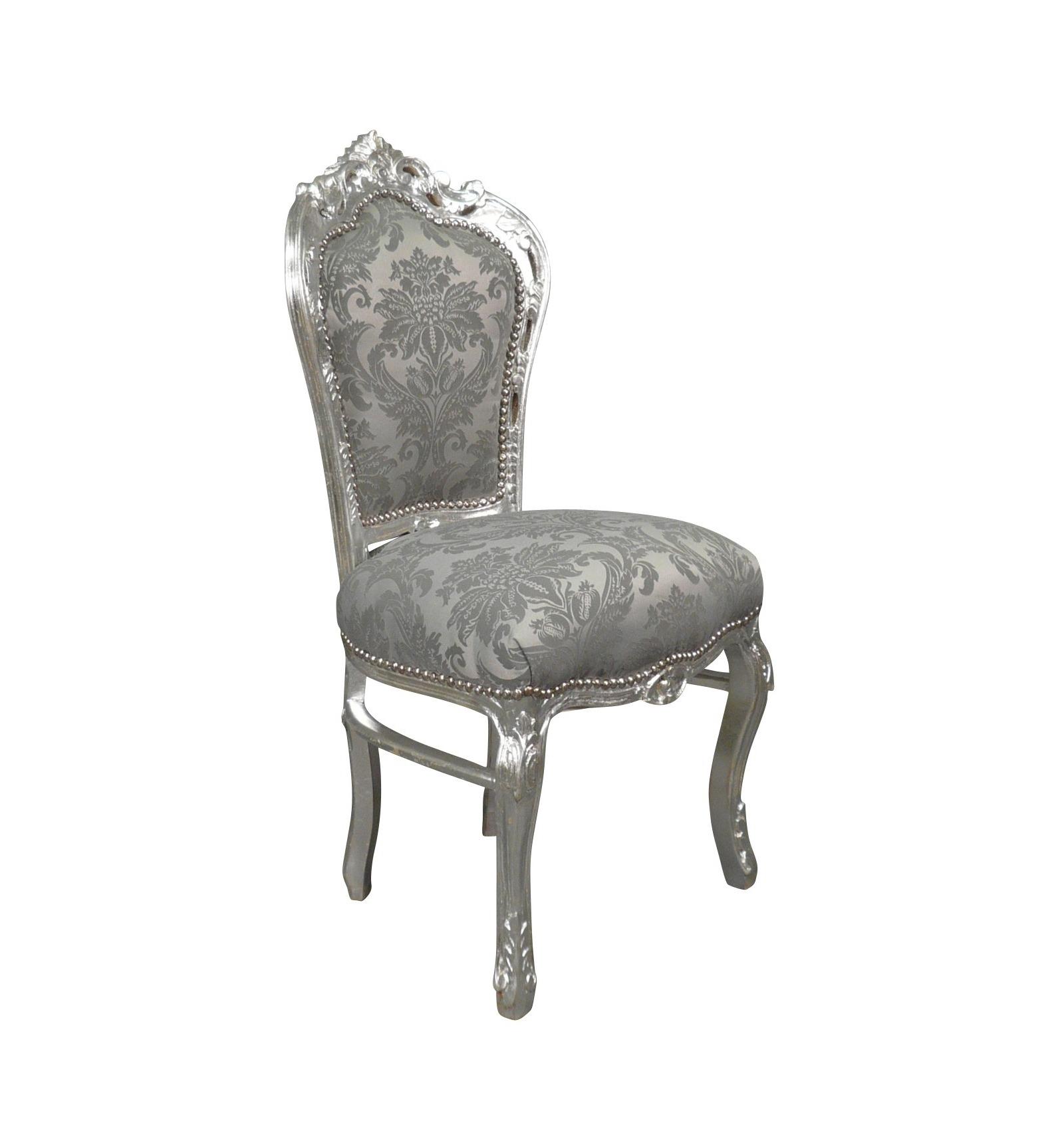 Chaise Baroque En Tissu Gris