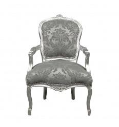 Fauteuil Louis XV gris satiné