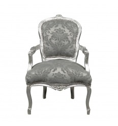 Židle Louis XV satin gray