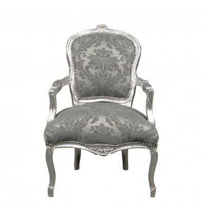 Fauteuil Louis XV tissu velours gris - Sièges de style en bois massif -