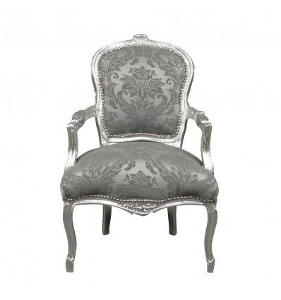 Sillón Louis XV, tela de terciopelo gris - Asientos de madera maciza -