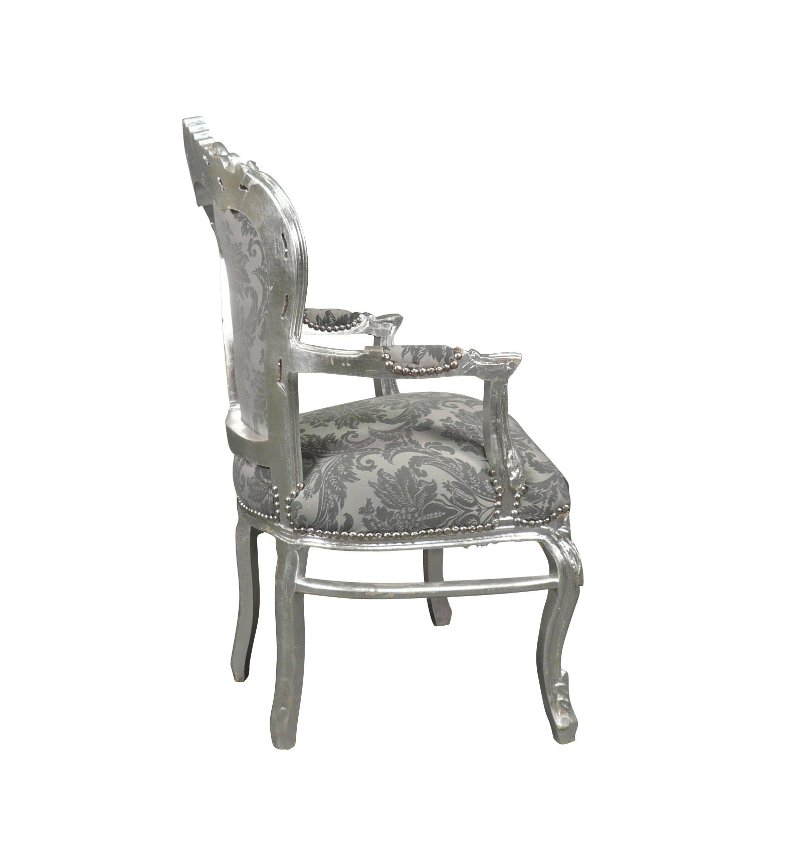 fauteuil baroque en tissu gris rococo ameublement baroque. Black Bedroom Furniture Sets. Home Design Ideas
