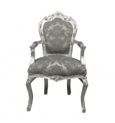 Barock Sessel aus grauem Rokoko-Stoff