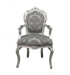 Fauteuil baroque en tissu gris rococo