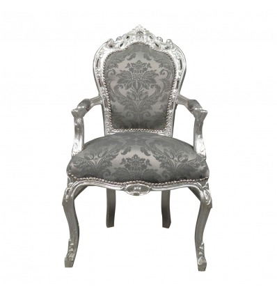 Baroque armchair in gray rococo fabric - Baroque furniture -