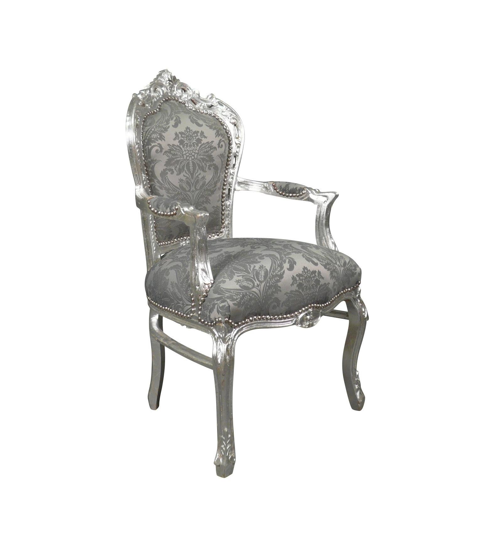 fauteuil baroque en tissu gris rococo ameublement baroque. Black Bedroom Furniture Sets. Home Design Ideas