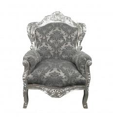 Fauteuil baroque gris satiné
