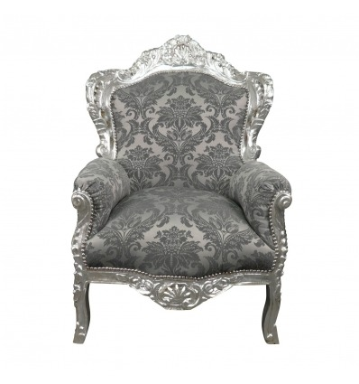 Baroque gray satin armchair