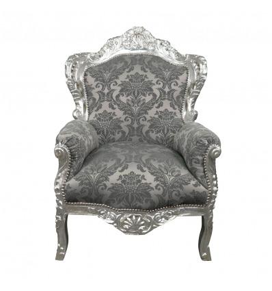 Sillón barroco gris satinado - Muebles barrocos -
