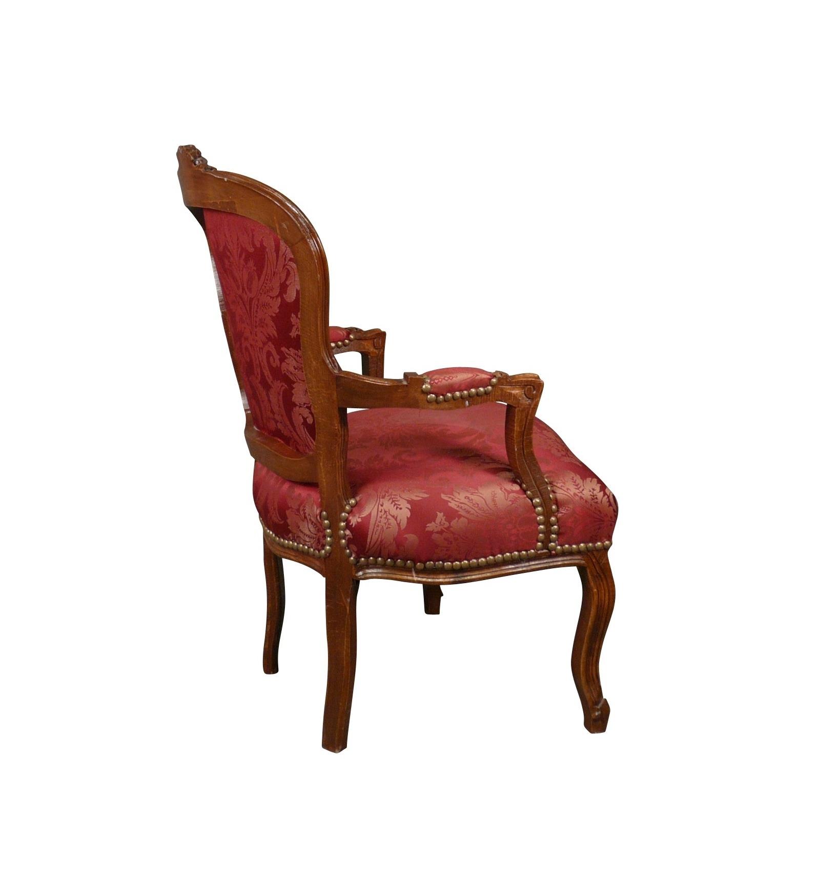 fauteuil louis xv rouge en bois massif. Black Bedroom Furniture Sets. Home Design Ideas