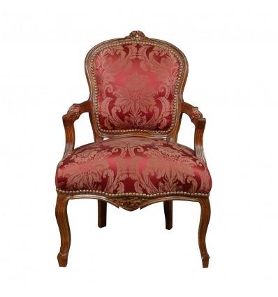 Sillón Luis XV de madera maciza roja. -