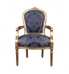 Sedia Luigi XVI re blu stile barocco