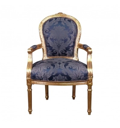 Sedia Luigi XVI re blu stile barocco - Poltrona Luigi XVI barocco -