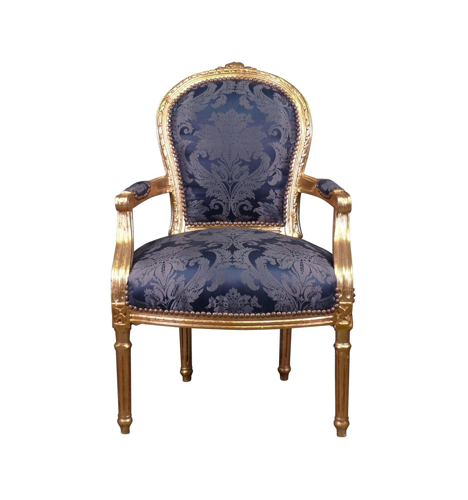 fauteuil louis xvi bleu roi style baroque. Black Bedroom Furniture Sets. Home Design Ideas