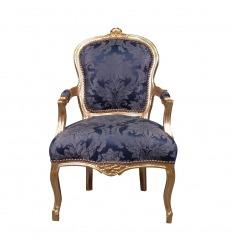 Fauteuil Louis XV bleu roi