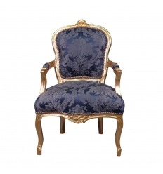 Poltrona luigi XV blu royal