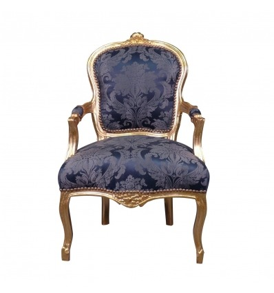 Louis XV armchair royal blue - Louis XV furniture and seating -