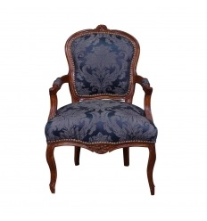 Fauteuil Louis XV bleu