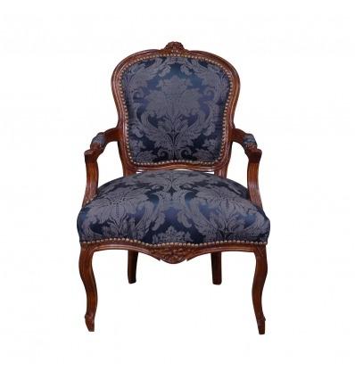 Sillón Luis XV azul - Muebles estilo Luis XV -