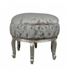 Grand pouf baroque gris