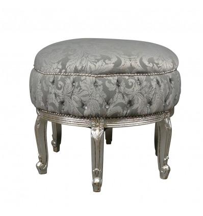 Large gray baroque pouf - Baroque pouf