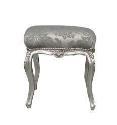 Gray baroque pouf and silver wood