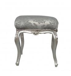 Pouf baroque gris et bois argenté