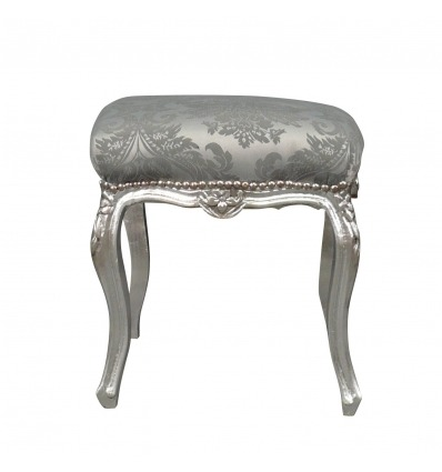 Gray baroque pouf and silver wood - Baroque pouf