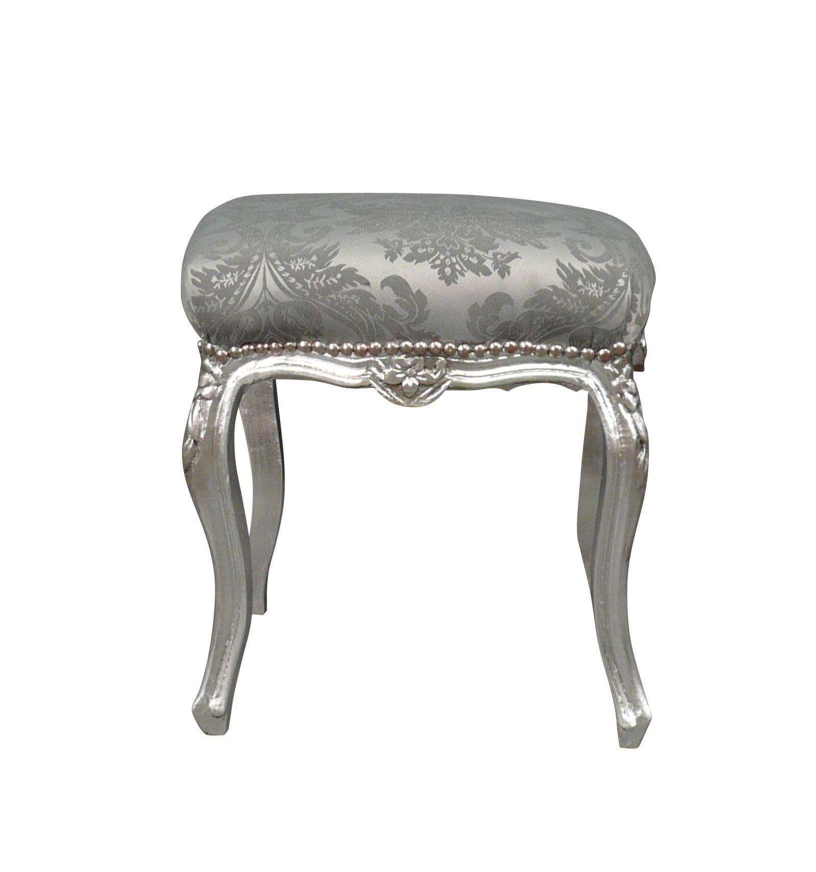 hocker barock grau silber und holz. Black Bedroom Furniture Sets. Home Design Ideas