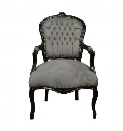 Fauteuil Louis XV tissu velours gris