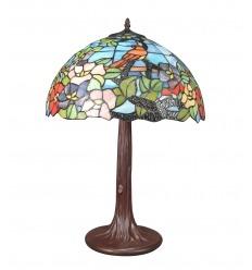 Lámpara Tiffany fondo azul con un pájaro en decoración
