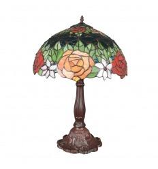Lampa stołowa Tiffany z różami