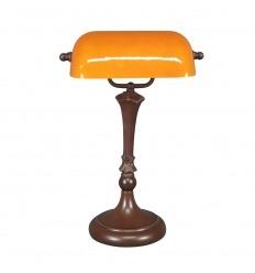 Lampe Tiffany de bureau jaune opalescent