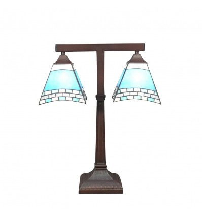 Lámpara Tiffany de mesa mediterránea.