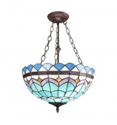 Lámpara de techo Tiffany azul
