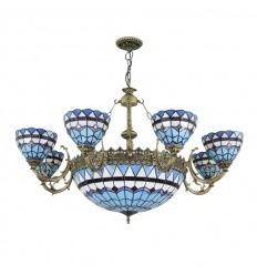 Lampadario Tiffany blu serie Monaco con otto luci