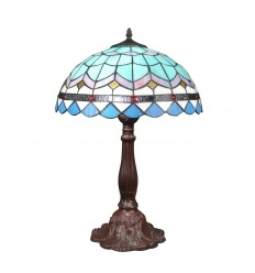 Grande lampe Tiffany bleue de stye ancienne