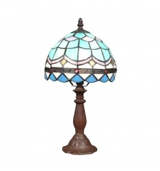 Tiffany lamp with blue and white stained glass