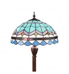 Lámpara de pie Tiffany azul de la serie mediterránea.