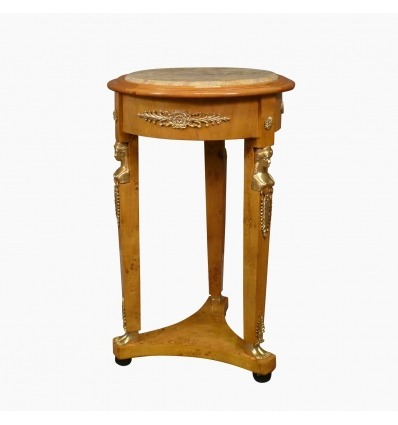 Empire pedestal table in elm burl and beige marble