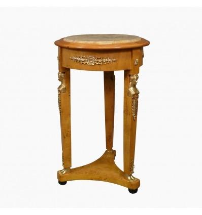 Empire-Säulentisch aus Ulmenholz und beigem Marmor