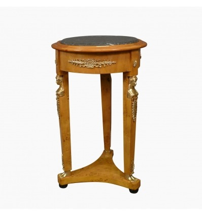 Empire pedestal table in elm burl and black marble