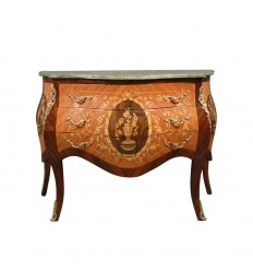 Louis XV chest of drawers with green marble