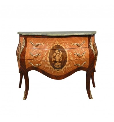 Louis XV chest of drawers with green marble - Louis XV chest of drawers