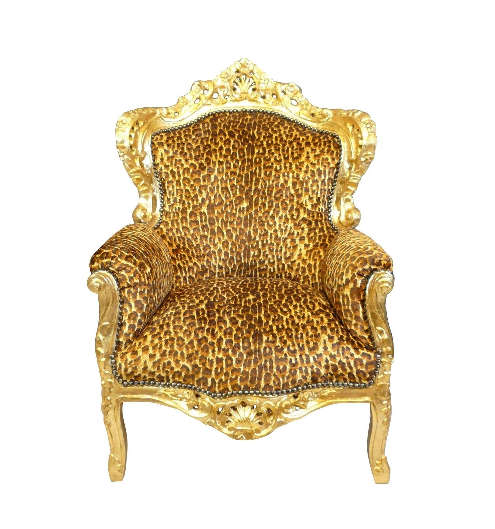 Barock Leopard Sessel Tisch Kommode Stuhl und Stilmöbel