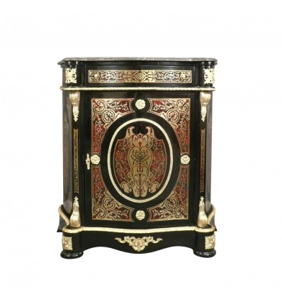 Empire Sideboard in Boulle Intarsien und Marmorplatte. -