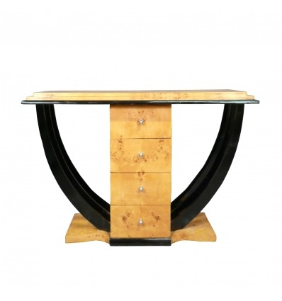 Art deco console - Console magnifying glass of Elm and black lacquered wood -