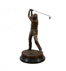 Statue en bronze d'un joueur de golf
