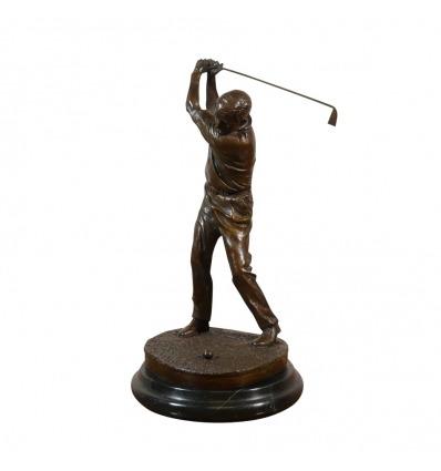 Sculpture bronze d'un joueur de golf