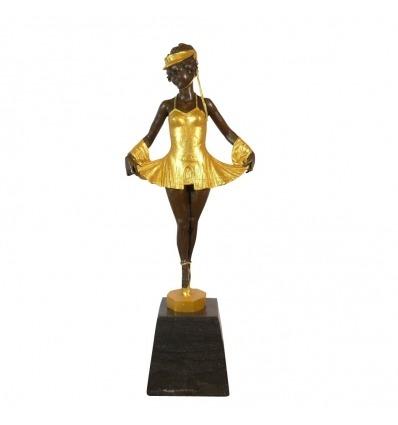 Bronzestatue eines jungen Tänzers mit Ballerinen